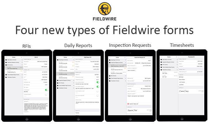 Fieldwire Forms include Daily Reports, Timesheets, Inspection Requests, RFIs
